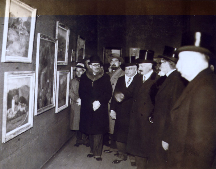 Formal opening of the Salon d-Hiver (Winter Exhibition) by President Albert Lebrun. On the extreme left of the photograph  Pio Santini with all the officials.jpg